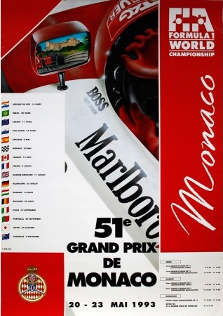 Original 1993 Monaco F1 GP Poster