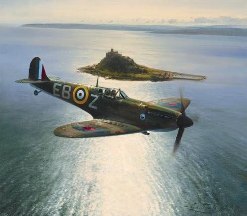 Spitfire Over St. Michael's Mount