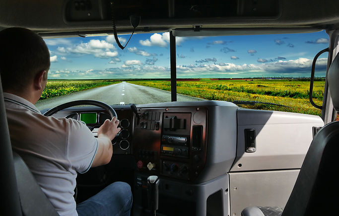 The truck driver on the road among field