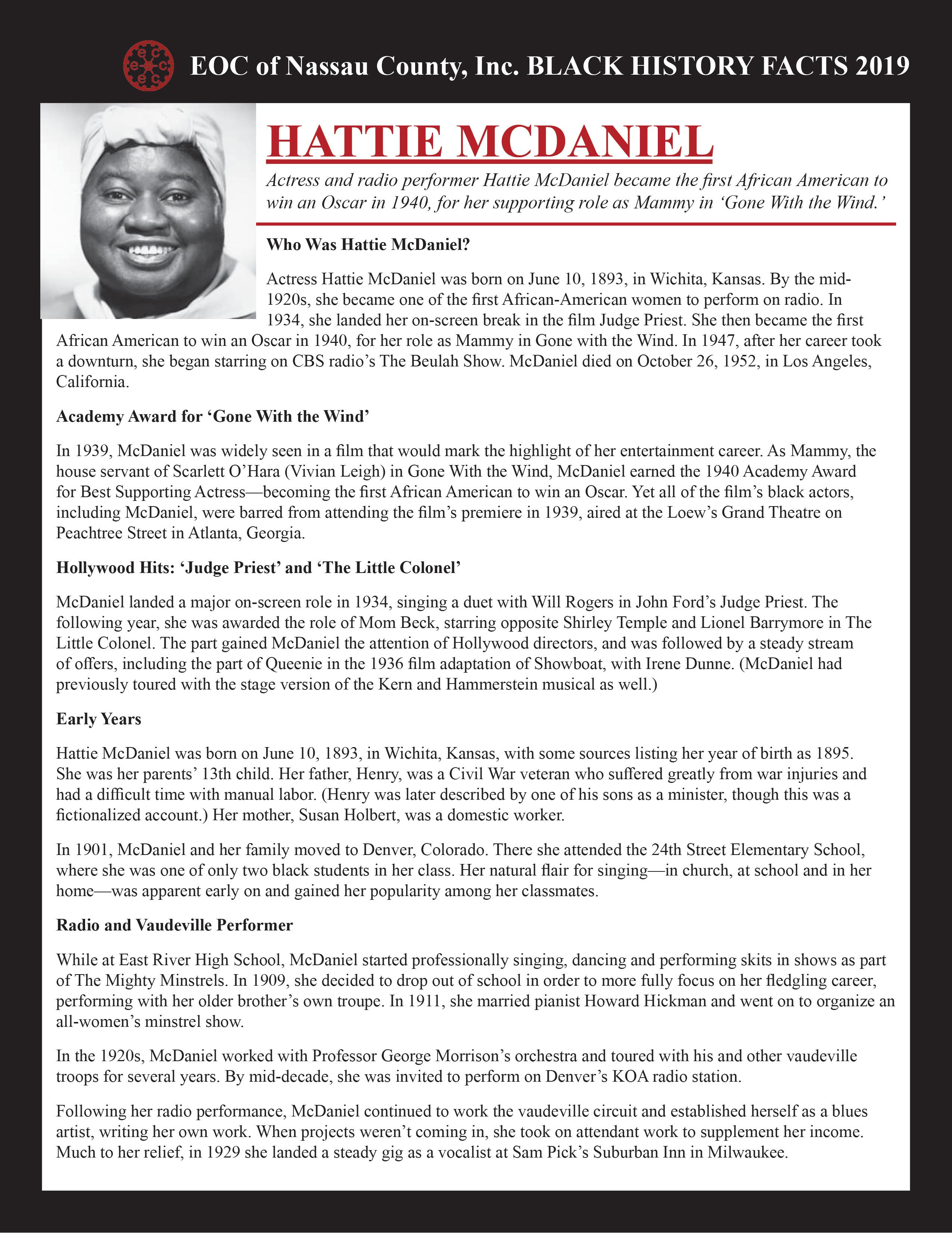 hattie mcdaniel | eoc black history facts 2019 | eoc of