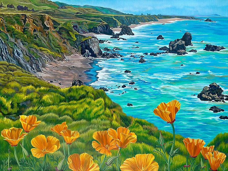 Giclée canvas print depicting the Sonoma coast, with California poppies in the background