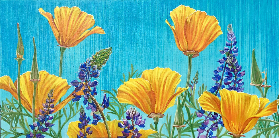Giclée canvas print depicting California poppies and lupine
