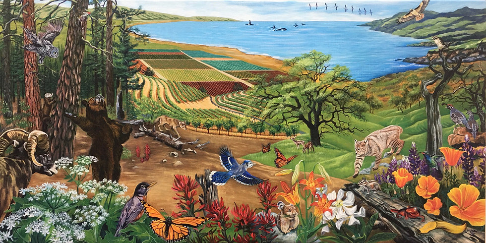 Acrylic painting depicting California's flora and fauna, whales, redwoods, and vineyards with the coast in the background