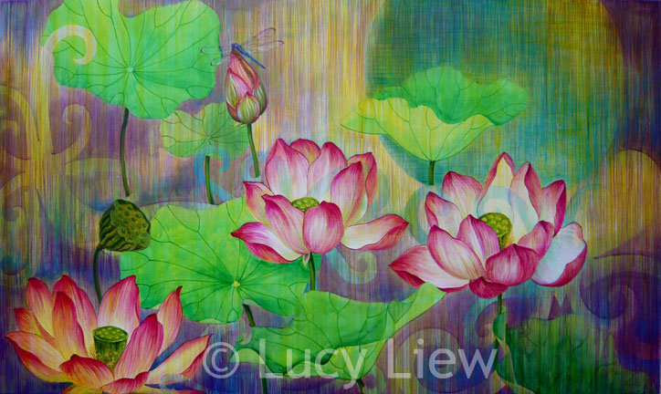 Giclée canvas print depicting lotus flowers and leaves floating above water in twilight