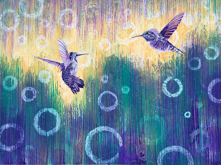 Giclée canvas print depicting two blue hummingbirds in flight above a textured background