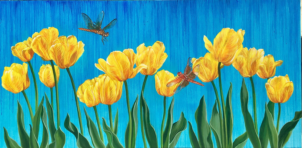 Giclée canvas print depicting yellow tulips and dragonflies on a bright blue background