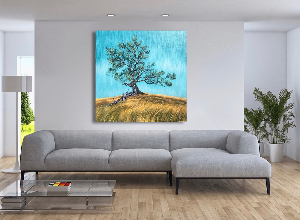 Grandmother Oak In-Situ with Modern Grey Couch