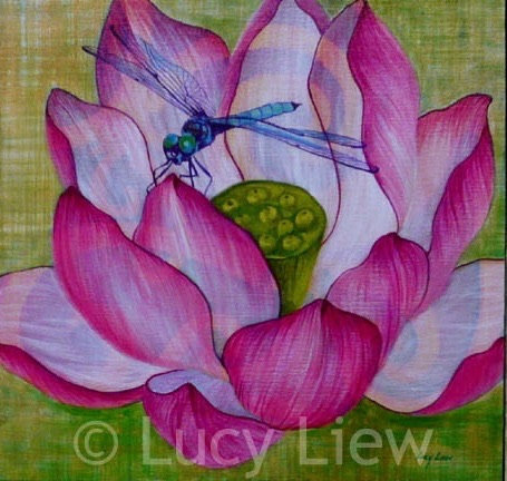 Acrylic painting of a blue darter dragonfly above a purple lotus blossom