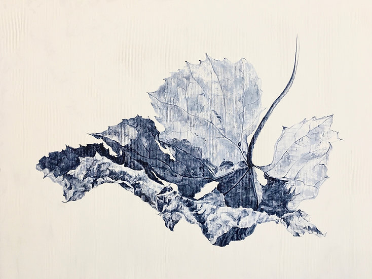 Grayscale acrylic painting of a grape leaf