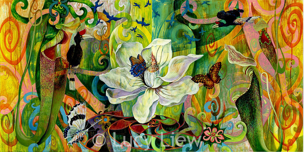 Giclée canvas print depicting Malaysian flora and fauna surrounding a giant magnolia flower floating above a nautilus