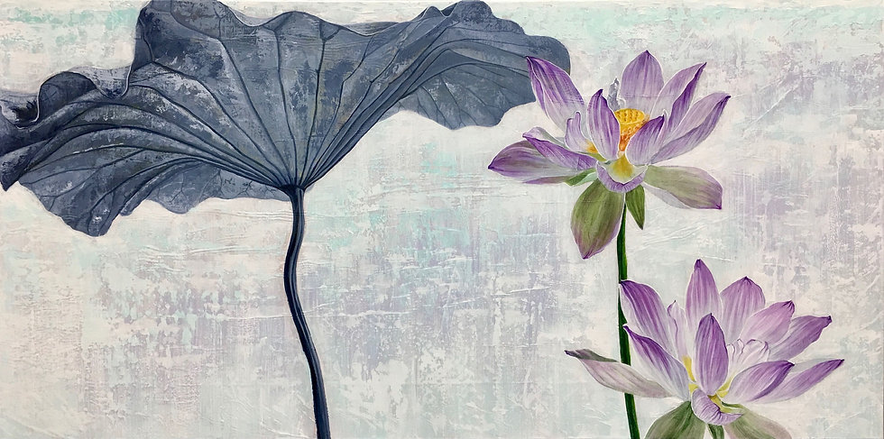 Acrylic painting of a pale purple lotus flower and lotus leaf above a light gray background
