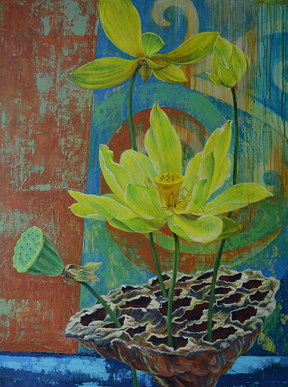 Acrylic painting depicting the cycle of lotus flowers rising from a lotus pod