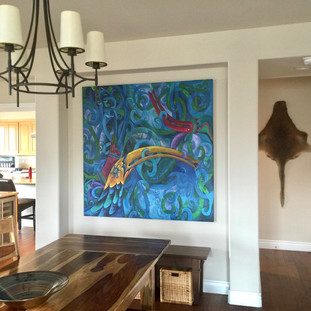 Lucy Liew colorful birds canvas wall art in California homes_160910_01.jpeg