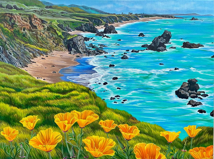 Giclée canvas print depicting Sonoma coast, with poppies in the foreground