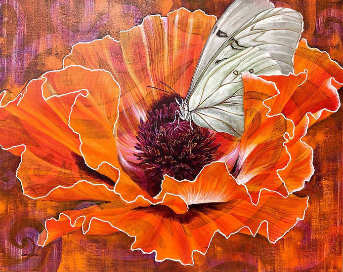 Acrylic painting of a white morpho butterfly resting on a red icelandic poppy