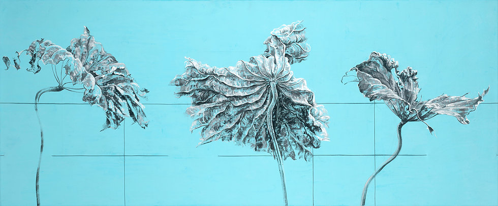 Giclee canvas print of a dried lotus leaf on a light blue background