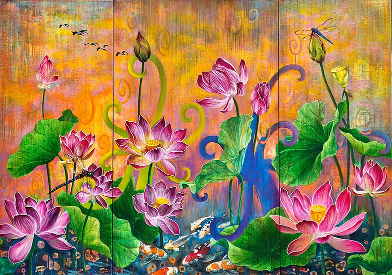 Acrylic painting depicting lotus flowers rising out of water, with egrets flying above and koi fish swimming below