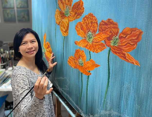 California artist Lucy Liew painting 'Rise Up' in her studio