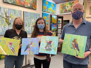 Family with California artist Lucy Liew's hummingbird series