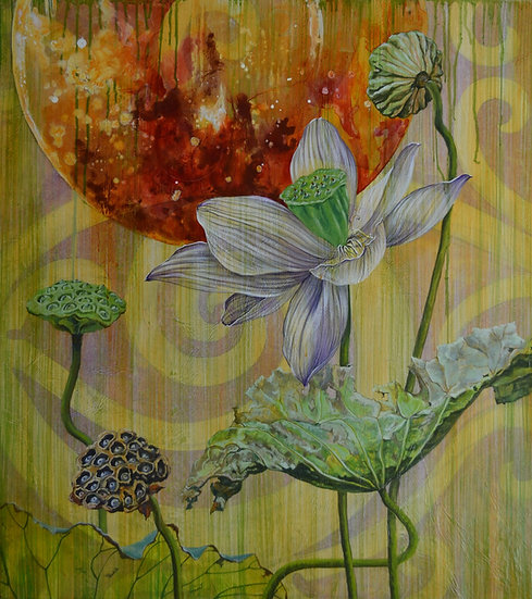 Acrylic painting of lotus flower, pods, and leaves with a supermoon in the background