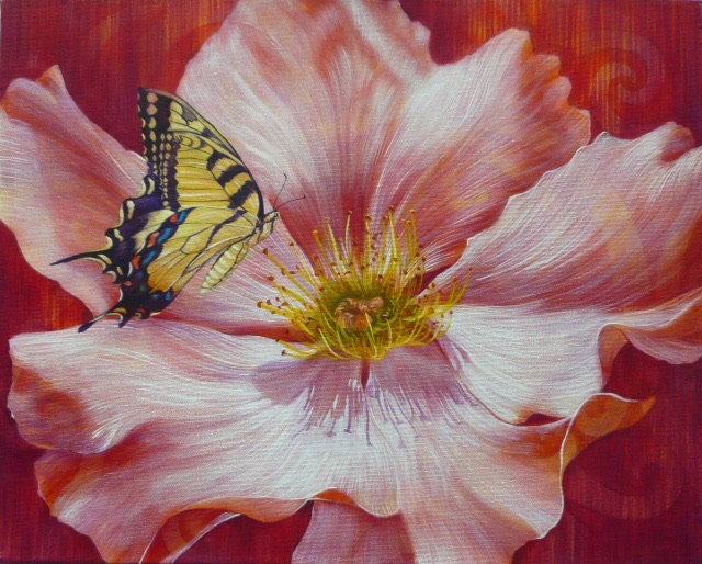 Acrylic painting of an Eastern Swallowtail butterfly hovering above a Cherokee Rose