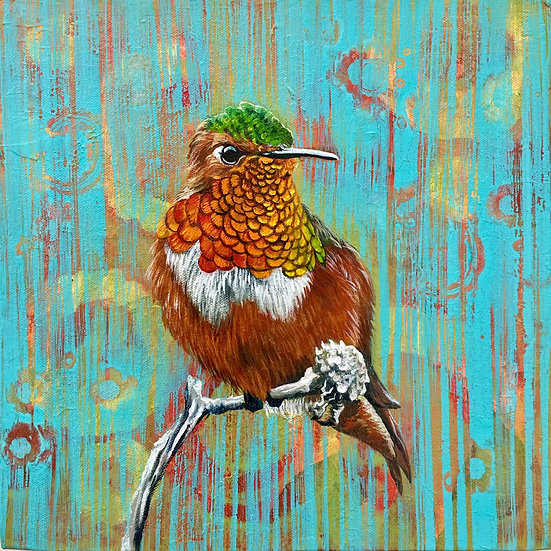 Acrylic painting of a Rufous hummingbird resting on a branch