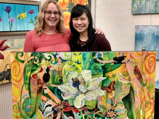 """California artist Lucy Liew and client with """"Joy of Living"""" Giclée print"""