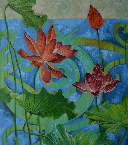 Acrylic painting of lotus flowers and leaves above a blue background with symbolic tendrils
