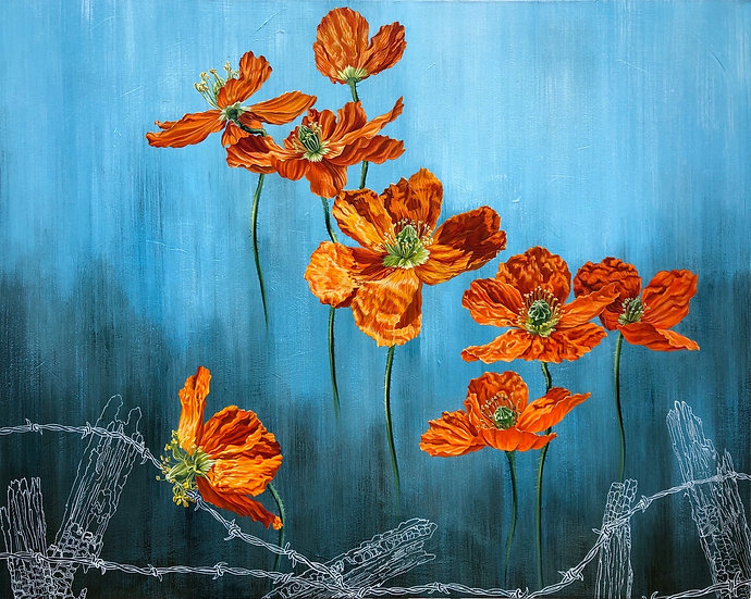 Giclée canvas print depicting California poppies rising above the white outline of a barbed wire fence