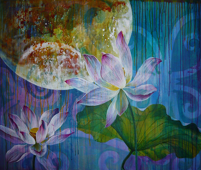 Acrylic painting of lotus flowers and leaves at twilight, with a supermoon in the background