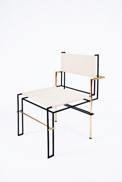[CAS.BAH] brass/leather chair