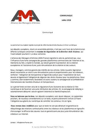 Projet de Directive européenne sur les droits d'auteurs à l'ère numérique