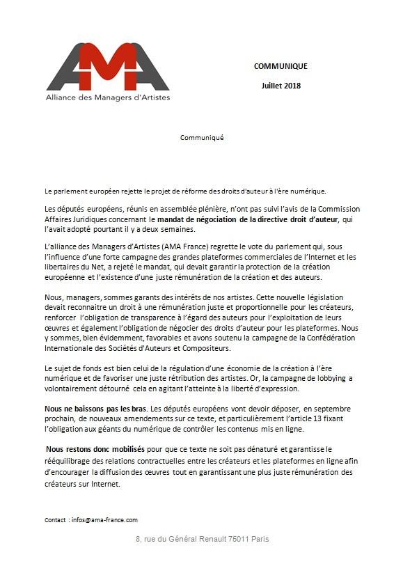 Le parlement Européen rejette le projet de réforme des droits d'auteur à l'ère numérique.