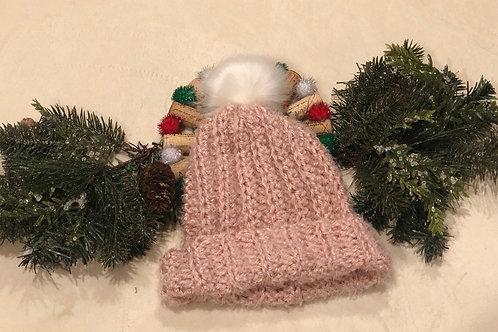 Women's Autumn Pink Fuzzy Hat