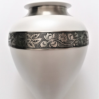 White Floral Cremation Ashes Urn