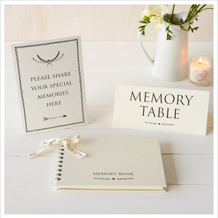 A5 Luxury Ivory Memory Book & 2 Sign Set for Funeral Memory Table