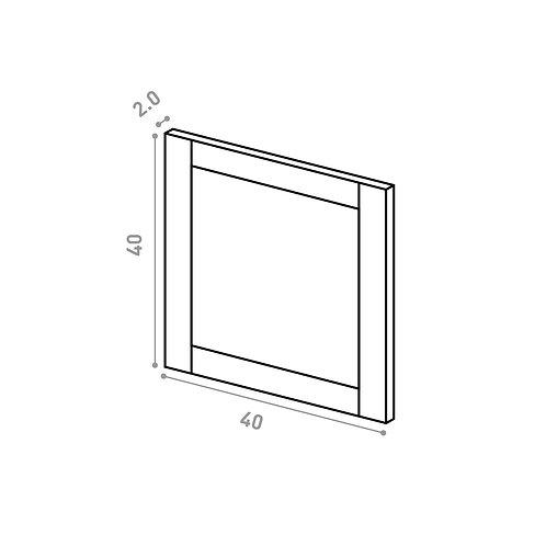 Tiroir 40X40cm | design cadre | chêne peint (ou porte à ouv. vers le haut)