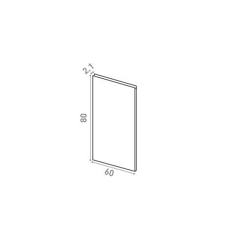 Porte 60X80cm | design U shape | noyer naturel (convient aux lave-vaisselles)
