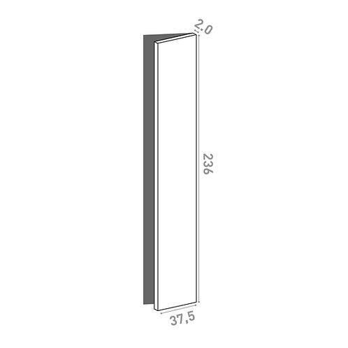 Porte 37.5x236cm - charnières à droite  | design lisse | noyer naturel