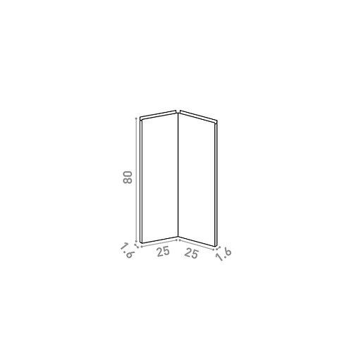 Porte d'angle 25x80cm | design U shape | chêne peint