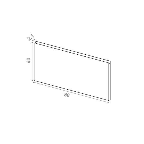 Tiroir ou porte horizontale 80X40cm | design U shape | laque mate