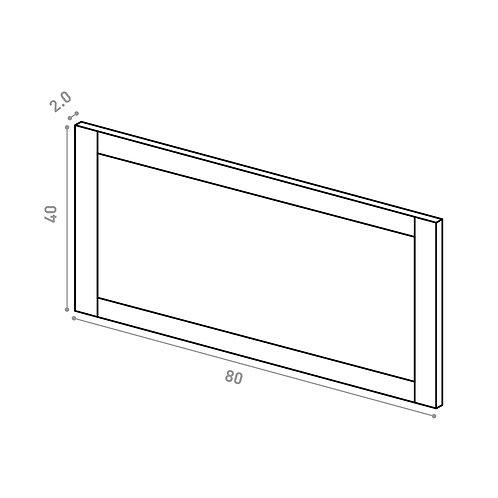 Tiroir 80X40cm | design cadre | chêne peint (ou porte à ouv. vers le haut)