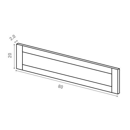 Tiroir 80X20cm | design cadre | chêne peint