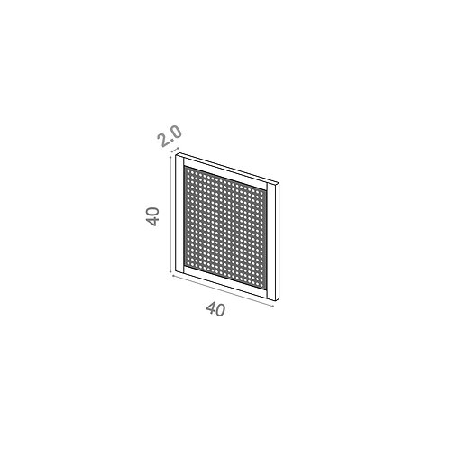 Porte 40x40cm | design cannage | chêne peint