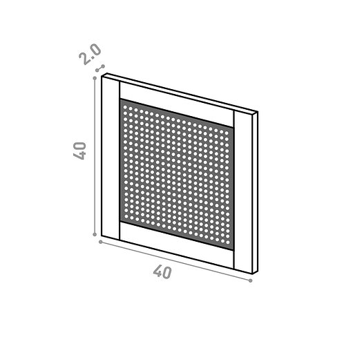 Tiroir ou porte horizontale 40X40cm | design cannage | chêne peint