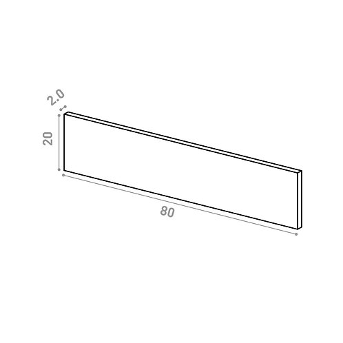 Tiroir 80X20cm | design lisse | chêne peint