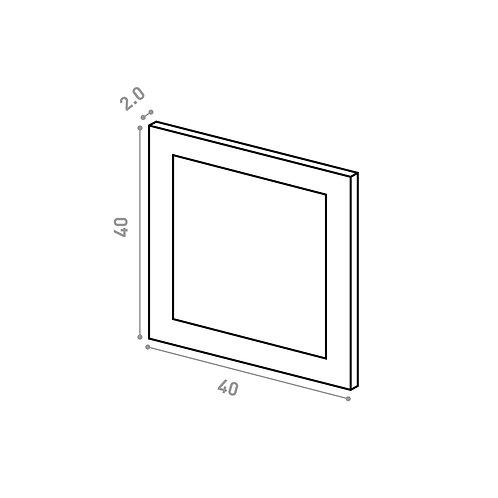 Tiroir 40X40cm | design cadre | laque mate (ou porte à ouv. vers le haut)