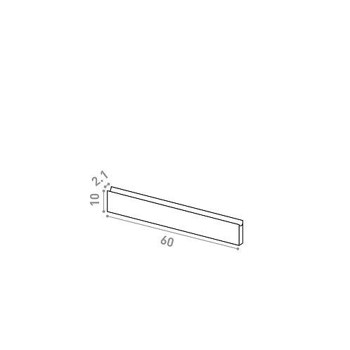 Tiroir 60X10cm | design U shape | noyer naturel
