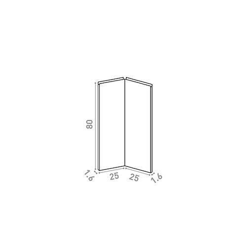 Porte d'angle 25x80cm | design U shape | noyer naturel