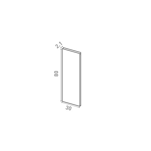 Porte 30X80cm | design U shape | noyer naturel